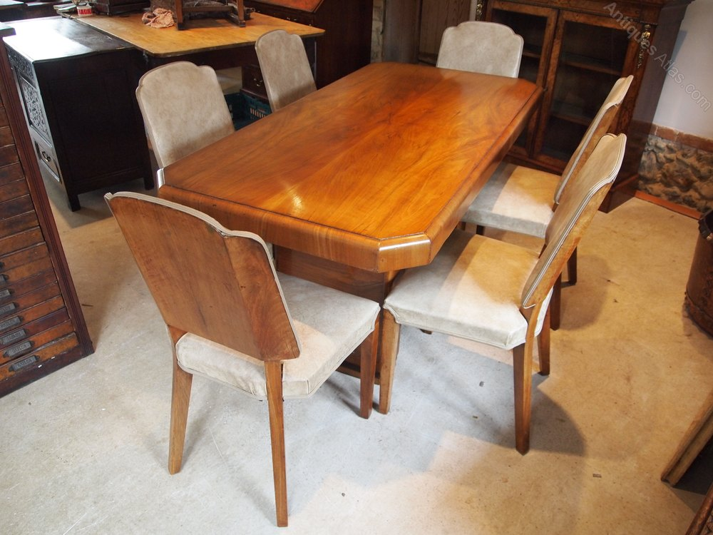 Dining Table And Chairs Art Deco Walnut C1925 Antiques Atlas