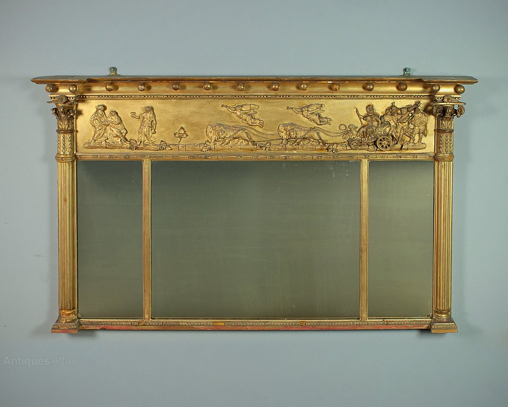 Antiques Atlas Late 19th C Triple Plate Gilt Overmantle Mirror
