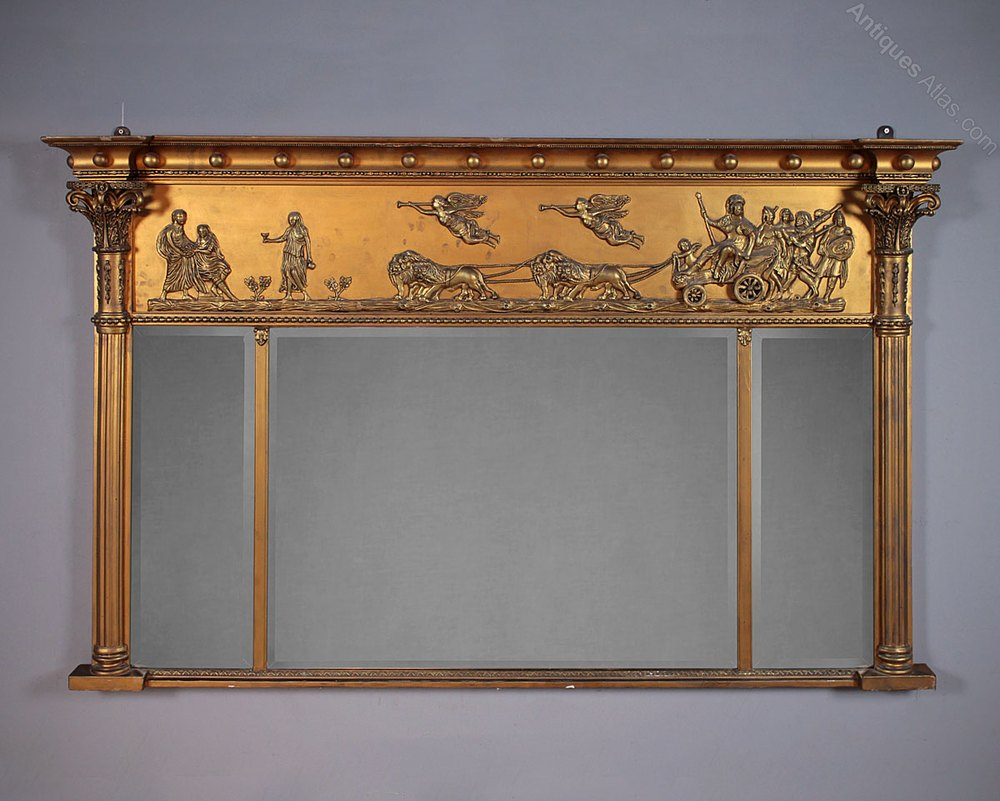 Antiques Atlas Overmantle Mirror With Classical Frieze C 1890
