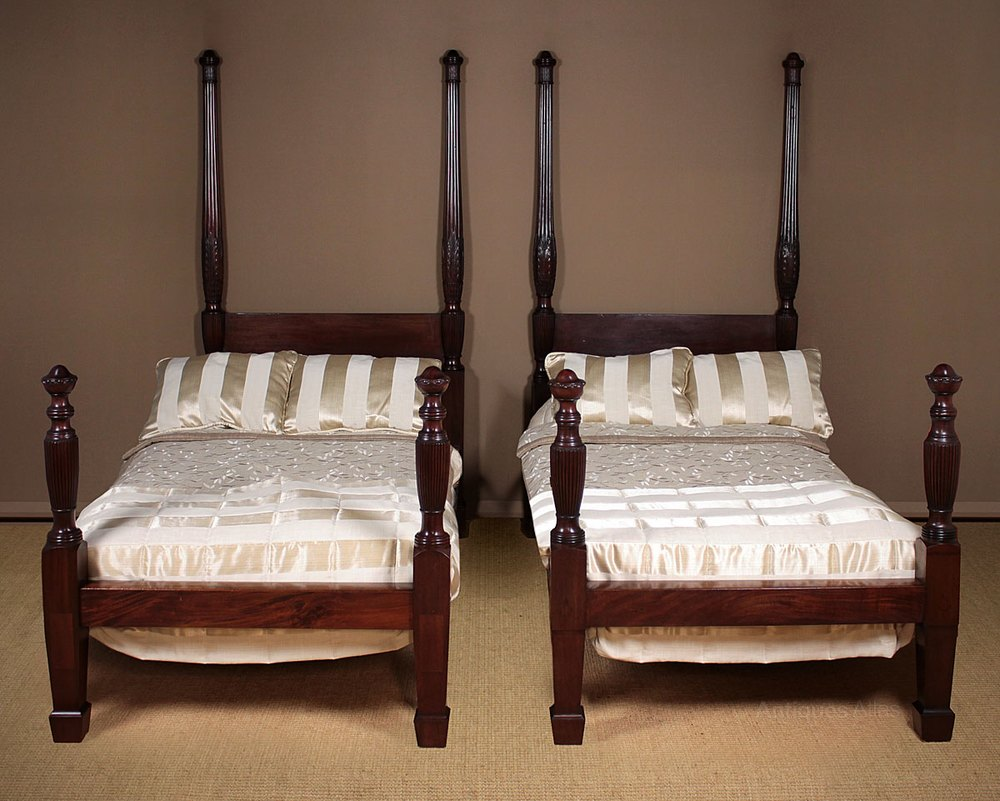 Single Four Poster Bed Pair Mahogany Four Poster Single Beds C 1890 Antiques Atlas