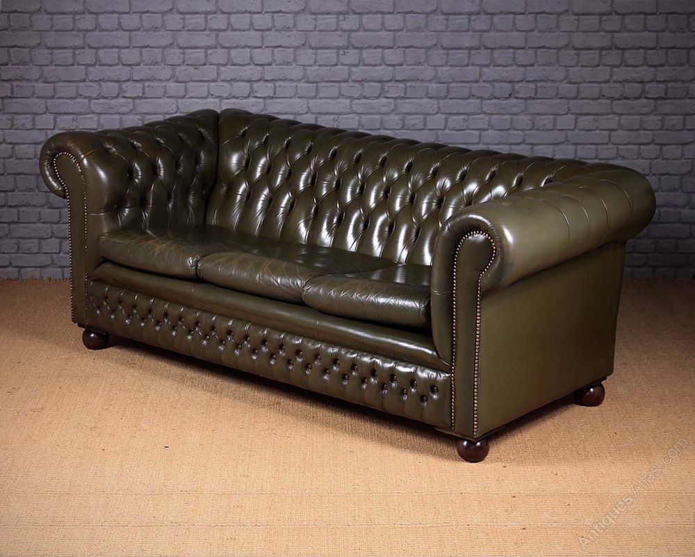 Chesterfield Sofa In Wales Antiques Atlas - Vintage Green Leather Chesterfield Sofa C