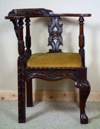 Victorian Carved Oak Corner Chair - Antiques Atlas