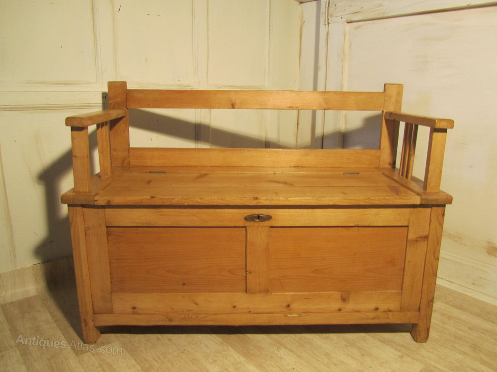 European Rustic Pine Box Settle Bench Hall Seat