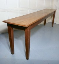 Long Narrow Golden Oak Farmhouse Kitchen Table - Antiques ...
