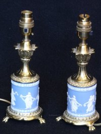 Antiques Atlas - Pair Wedgewood And Brass Table Lamps