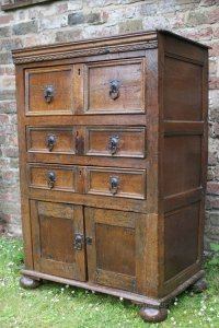17thC Rustic Oak Chest Of Drawers & Cupboard - Antiques Atlas