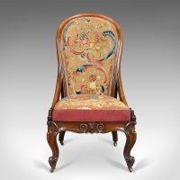 Antique Nursing Chair, English Walnut, Needlepoint ...