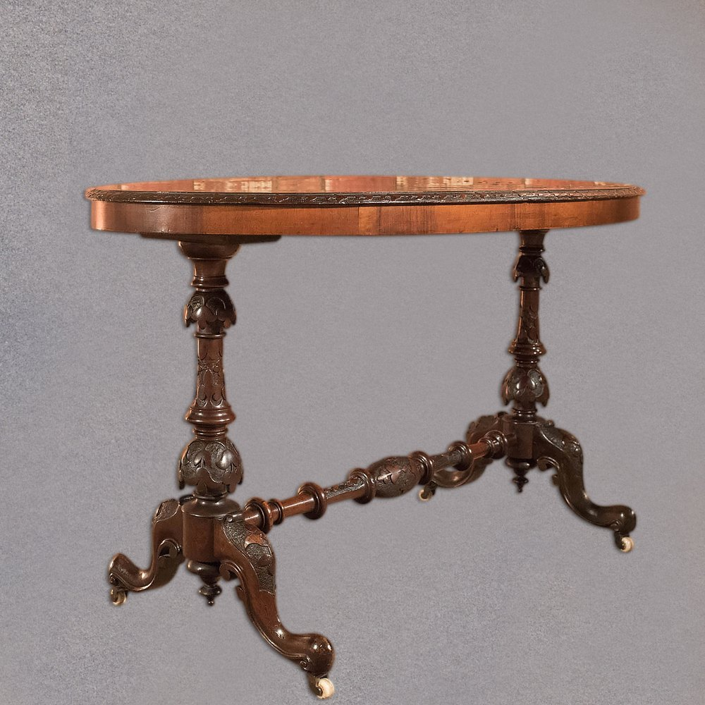 Victorian End Table Antique Side Table, Victorian Burr Walnut, C1870