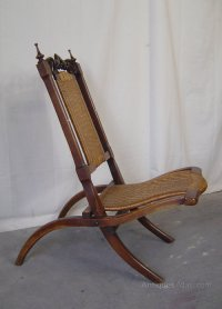 A Victorian Walnut Folding Campaign Chair - Antiques Atlas