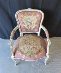French Pink Needlepoint Chair - Antiques Atlas