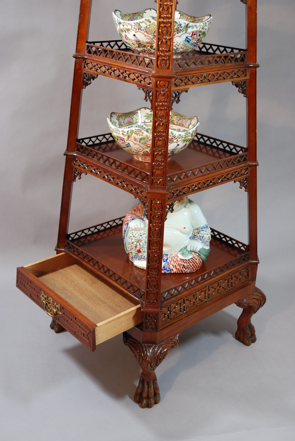 Antiques Atlas Mahogany Chinese Pagoda Style 4 Tier Etagere