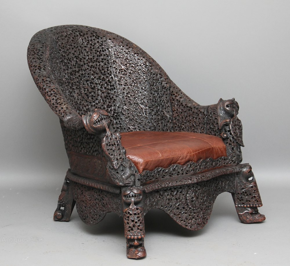 Carved burmese chair antique armchairs