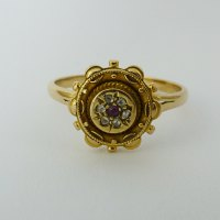 Antiques Atlas - Antique Ruby And Diamond Ring 9Ct Gold