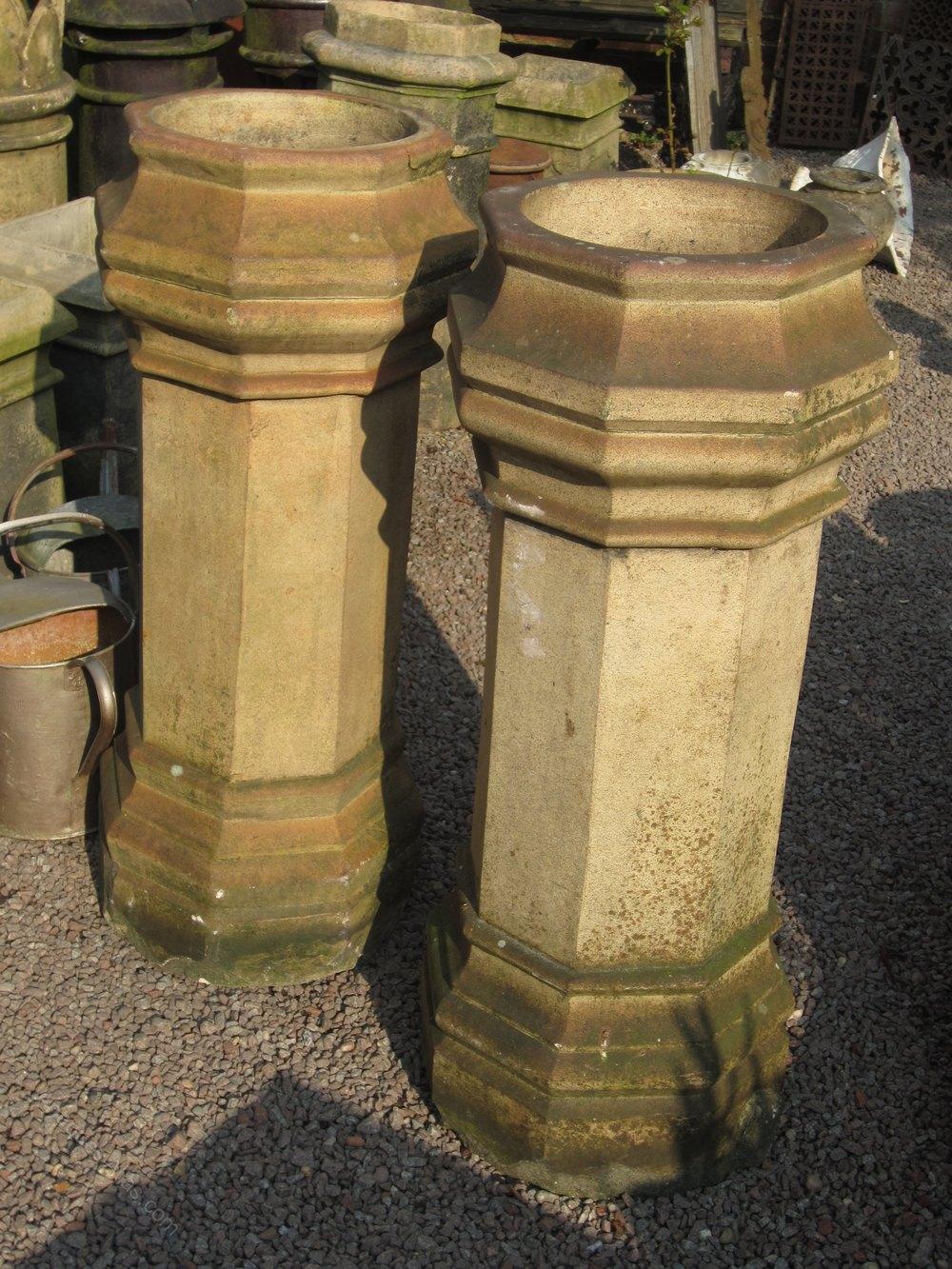 Antiques Atlas Splendid Pair Of Octagonal Buff Chimney Pots