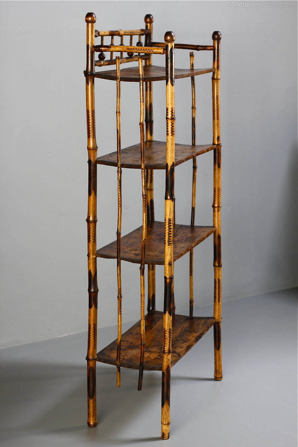 Bambus English Late Victorian Bamboo Floor Standing Shelves - Antiques Atlas