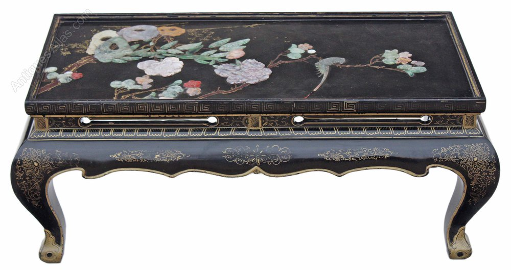 Chinese Black Lacquer Coffee Side Occasional Table
