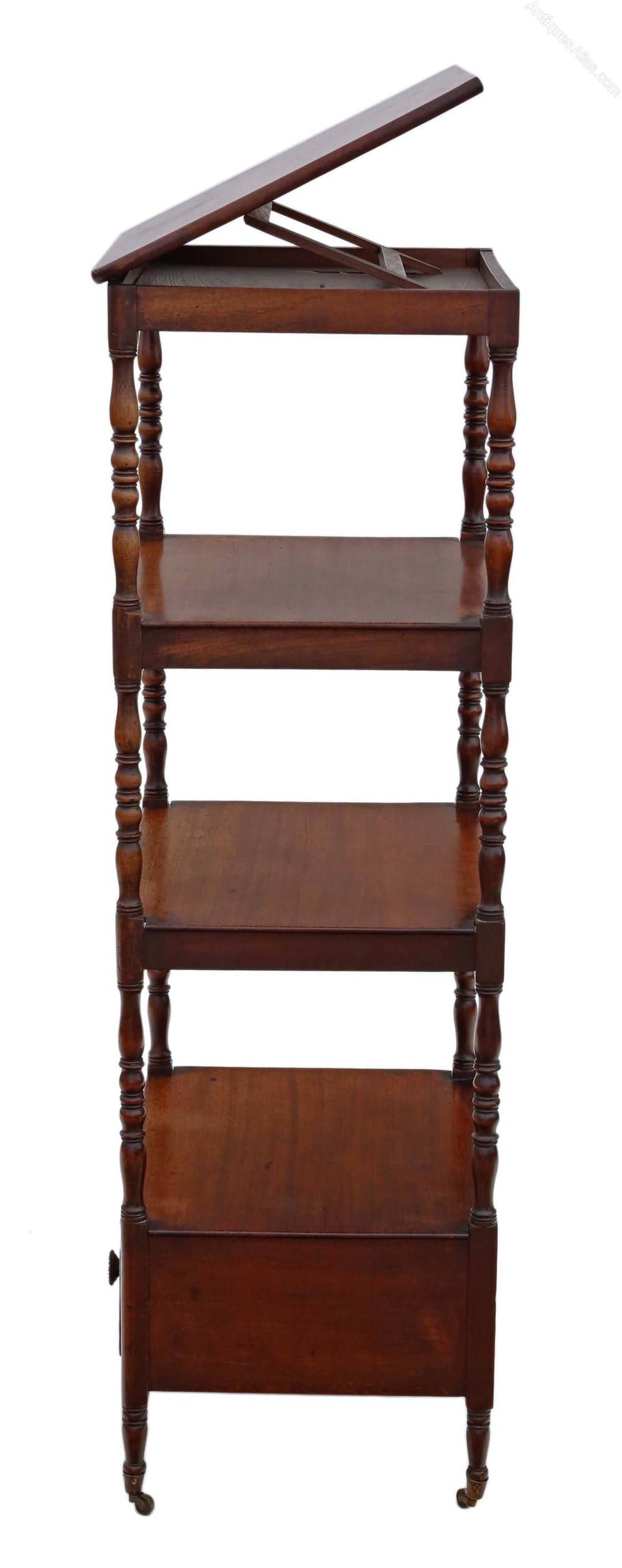 Regency Mahogany Open Bookcase Whatnot Shelves Antiques