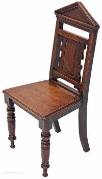 Victorian 19C Gothic Oak Side Hall Chair - Antiques Atlas