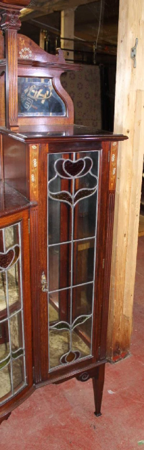 Arts Crafts China Cabinet Inlay Stained Glass