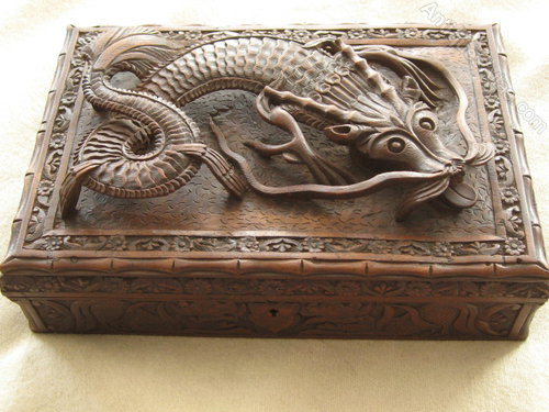 Antiques Atlas Carved Chinese Dragon Jewellery Box