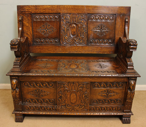 Antique Monks Bench Uk Antique Carved Oak Monks Bench / Settle - Antiques Atlas