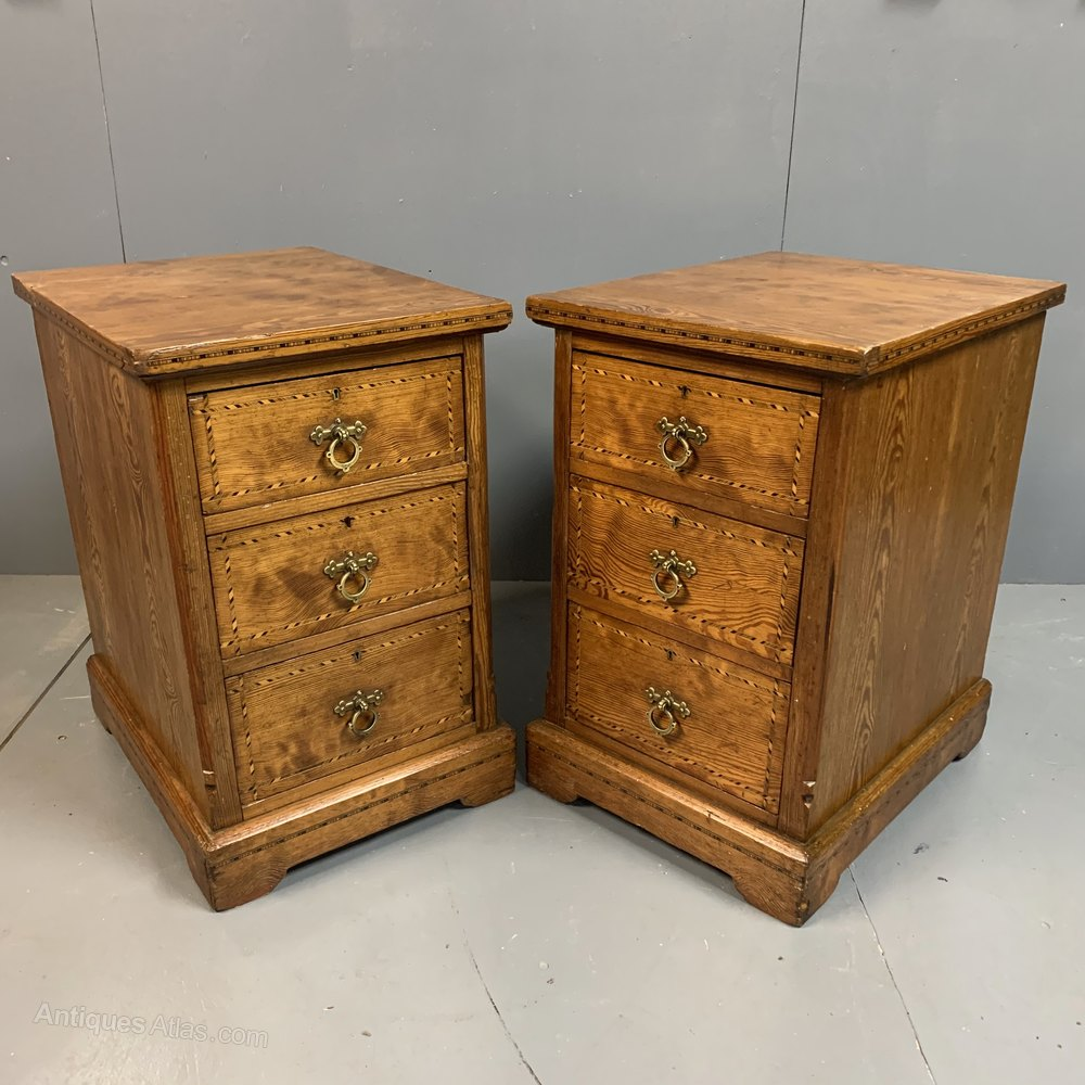 Pair Of Victorian Pitch Pine Bedside Cabinets Antiques Atlas