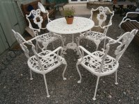 Antiques Atlas - Metal Garden Table & 4 Chairs