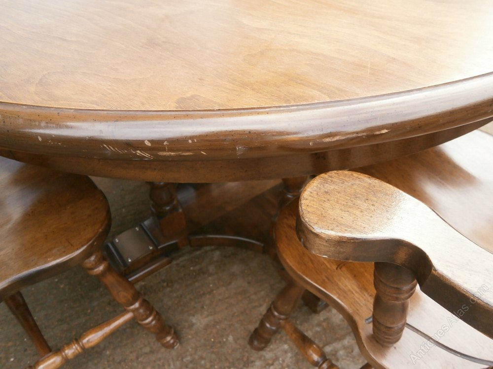 Antiques Atlas Vintage Oak Round Table 4 Captains Chairs
