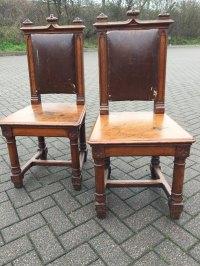 Pr Oak Gothic Hall Chairs - Antiques Atlas