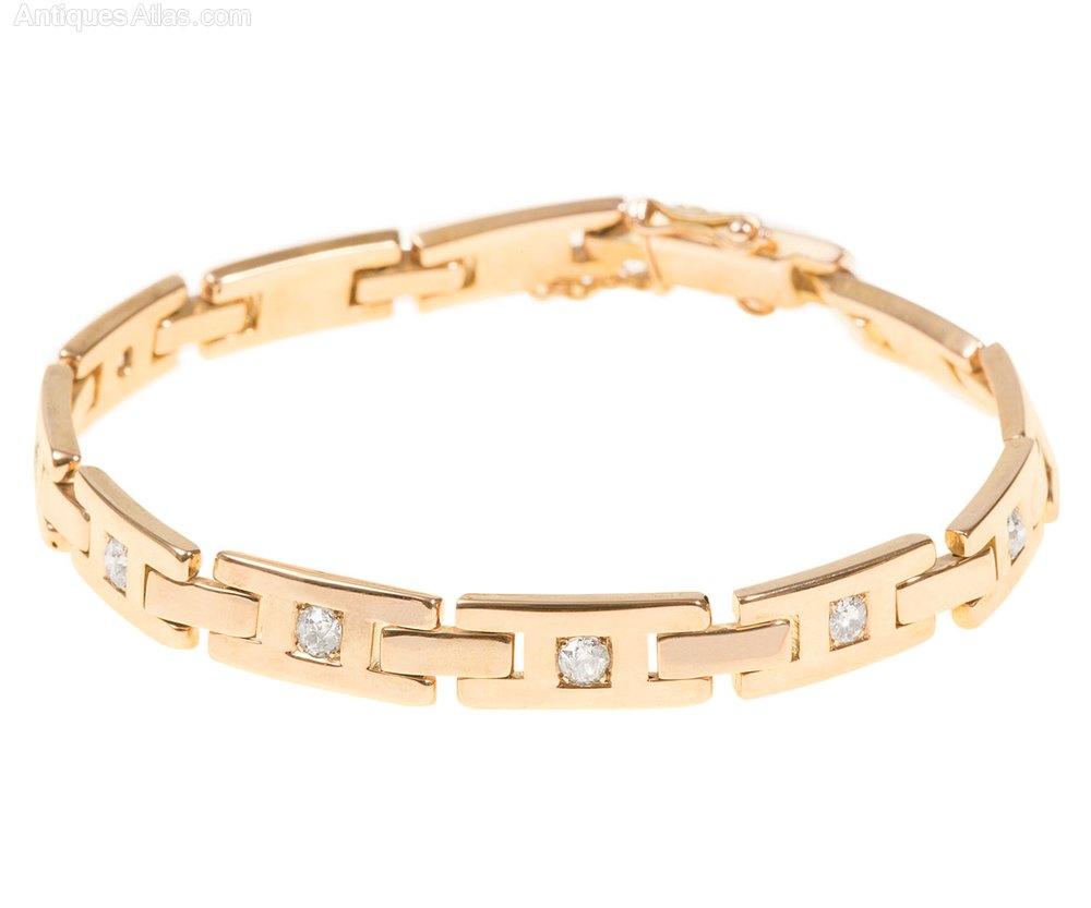 Antiques Atlas Art Deco Gold Diamond Link Bracelet