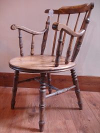Victorian Bow Backed Round Seated Elm Chair - Antiques Atlas