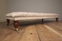 Mahogany Upholstered Centre Stool / Coffee Table ...
