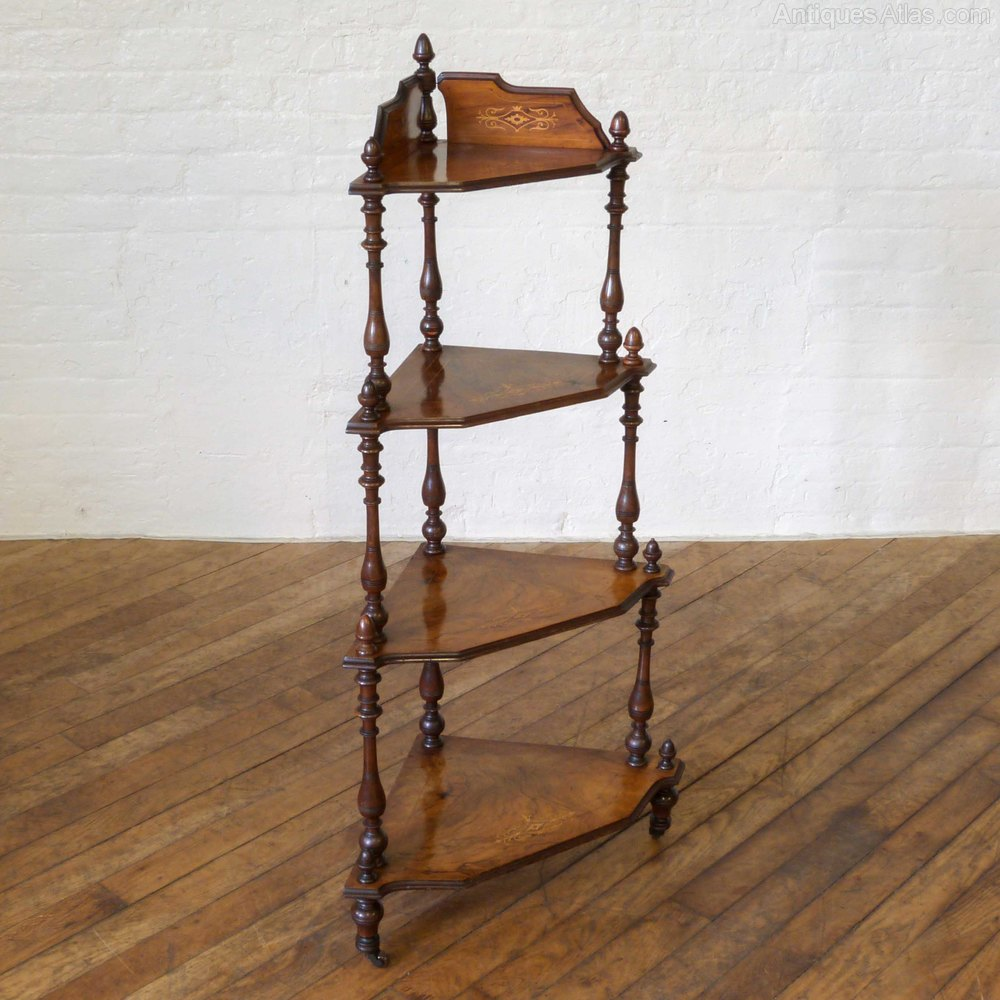 Corner Shelf Victorian Walnut Corner Whatnot - Antiques Atlas