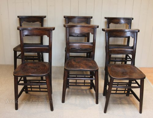 Set Of Six Church Chairs Antiques Atlas