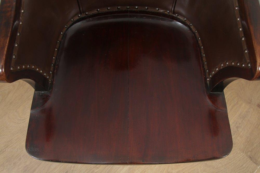 Edwardian Mahogany Leather Swivel Desk Arm Chair