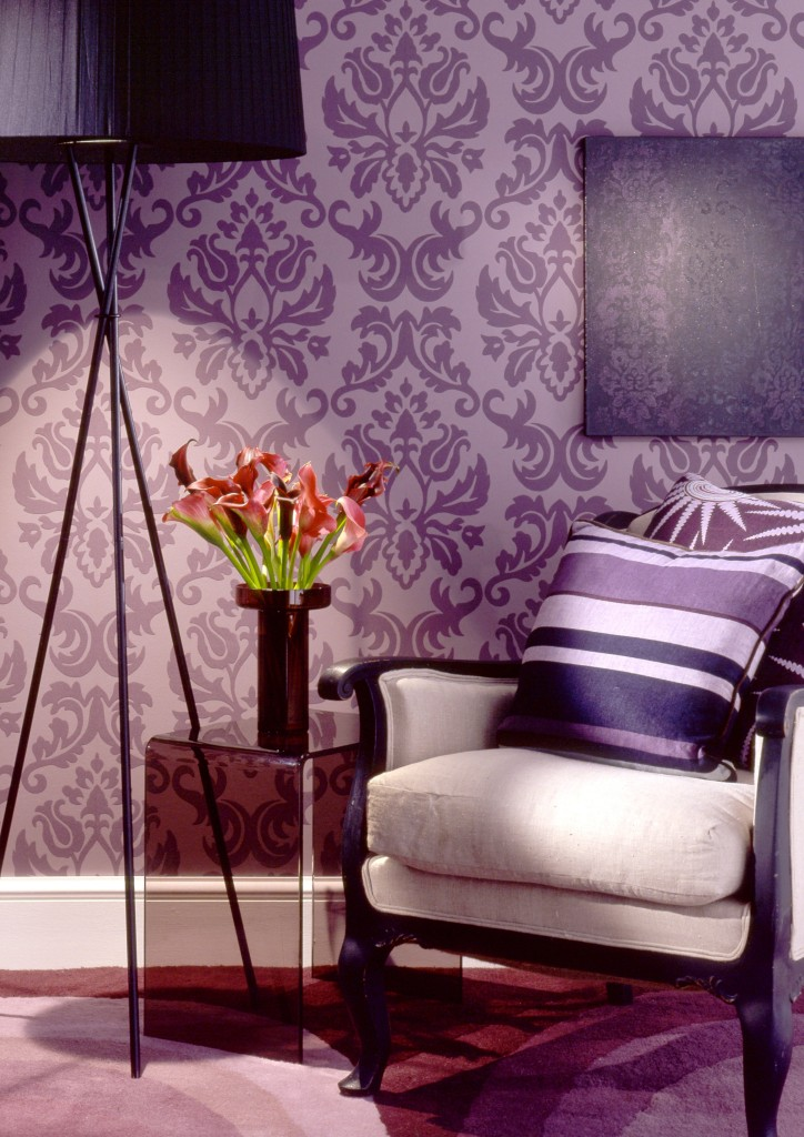 Purple And Black Damask Wallpaper 42 Fotos De Papel De Parede Para Sala Arquidicas