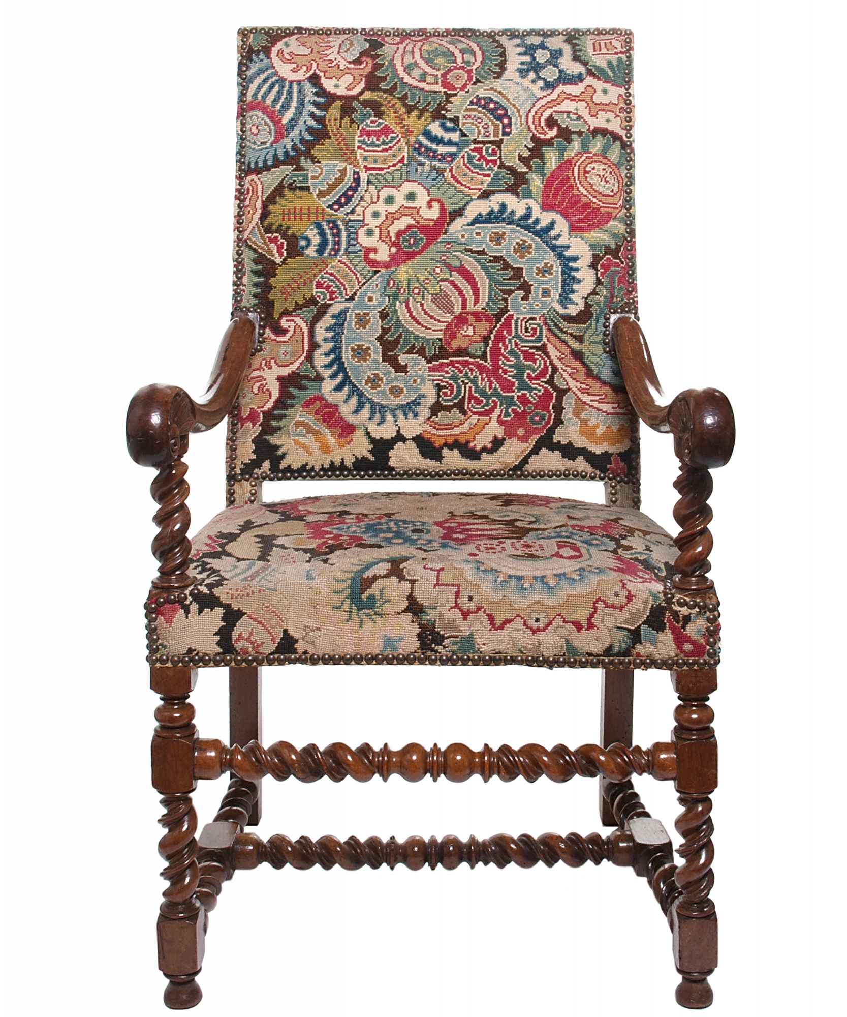 Louis The 14th Furniture A Good Walnut Needlepoint Louis Xiv Arm Chair Artlistings