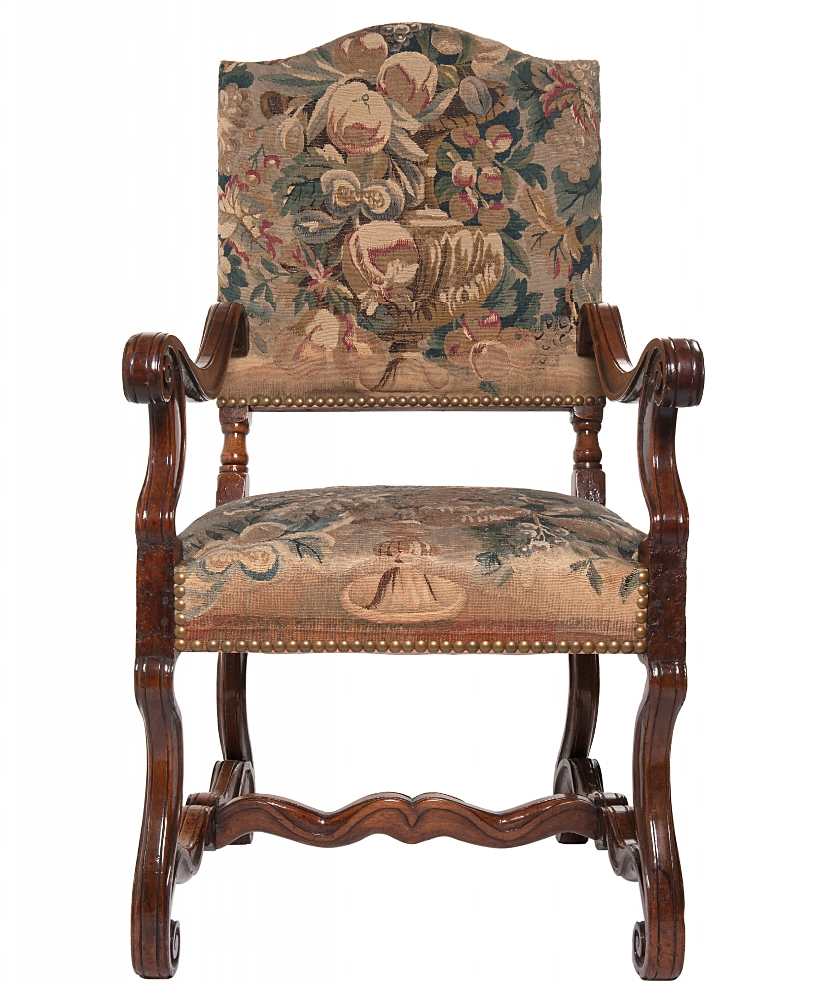 Louis The 14th Furniture A Good Pair Of Gobelin Upholstered Walnut Louis Xiv Arm