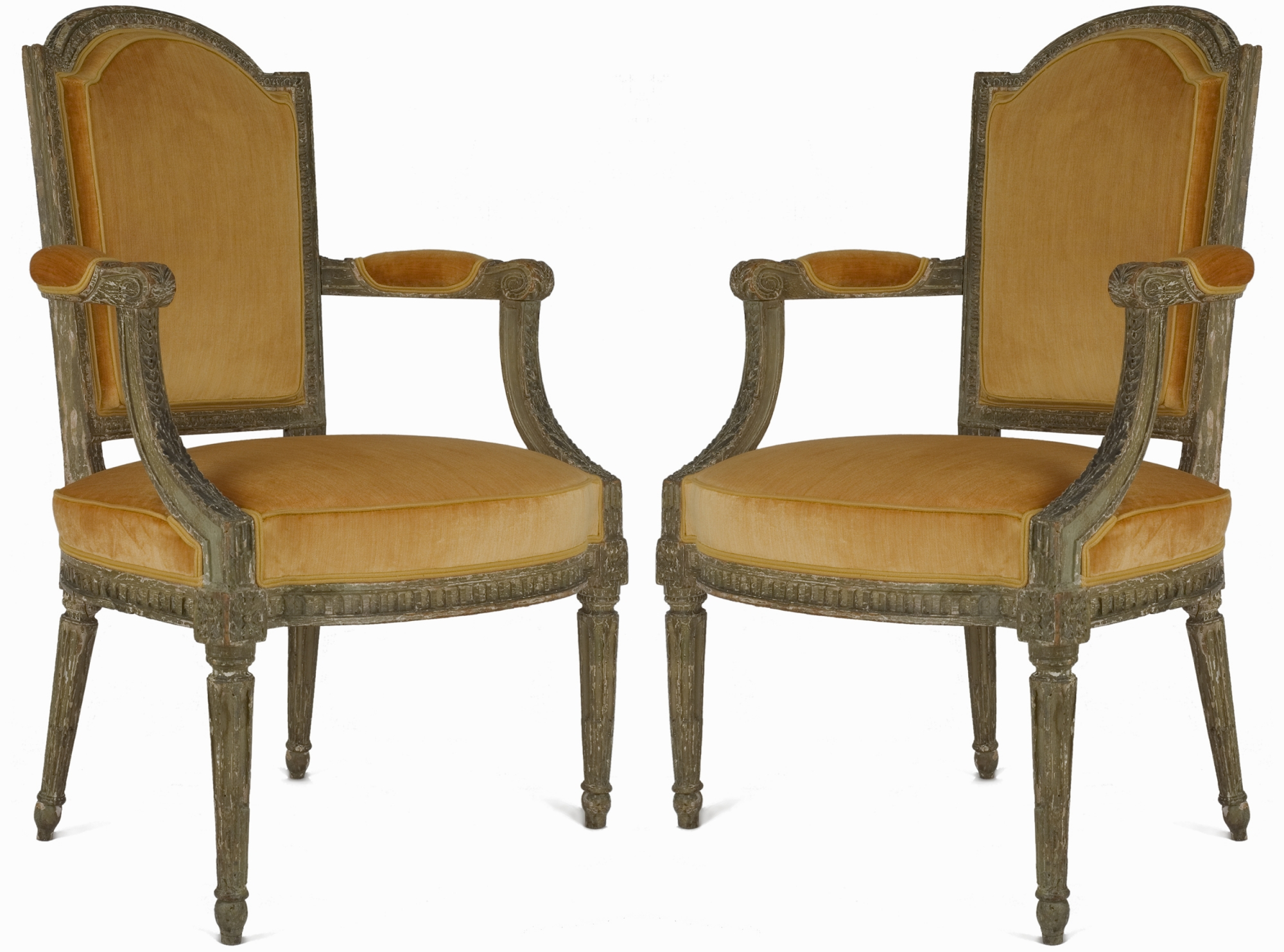 A Pair Of Louis Xvi Patinated Fauteuils Van Nie Antiquairs
