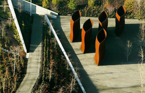 Aerial Photography by Andrew Buchanan Corten Steel sculptures - mesas de diseo