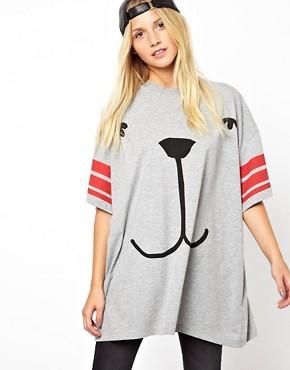 Image 1 ofASOS Oversized T-Shirt with Stripe Sleeve and Dog Face