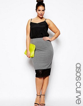 Image 1 of ASOS CURVE Pencil Skirt With Lace Hem
