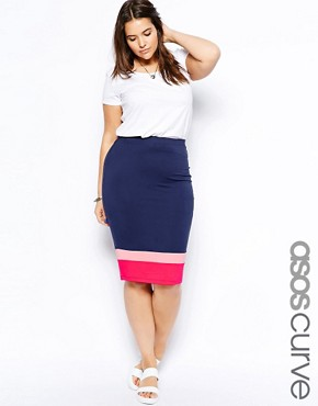 Image 1 of ASOS CURVE Exclusive Pencil Skirt In Colourblock