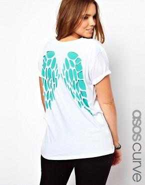 Image 1 - ASOS CURVE - T-shirt motif ailes découpées