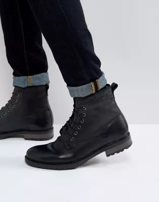 Asos Asos Lace Up Work Boots In Black Leather With Faux