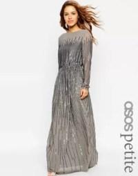 ASOS Petite | ASOS PETITE Linear Sequin Long Sleeve Maxi Dress
