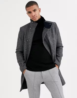 Tom Tailor Funnel Neck Coat In Wool Mix Asos