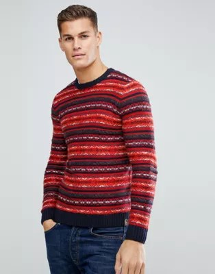 Tom Tailor Jumper With Red Fairisle Asos