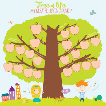 Vector illustration of the genealogical family tree in a cute and
