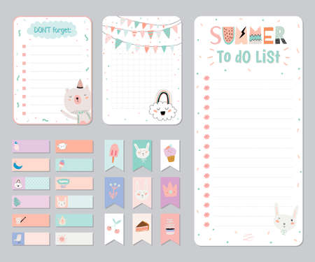 Cute Calendar Daily and Weekly Planner Template Note Paper and